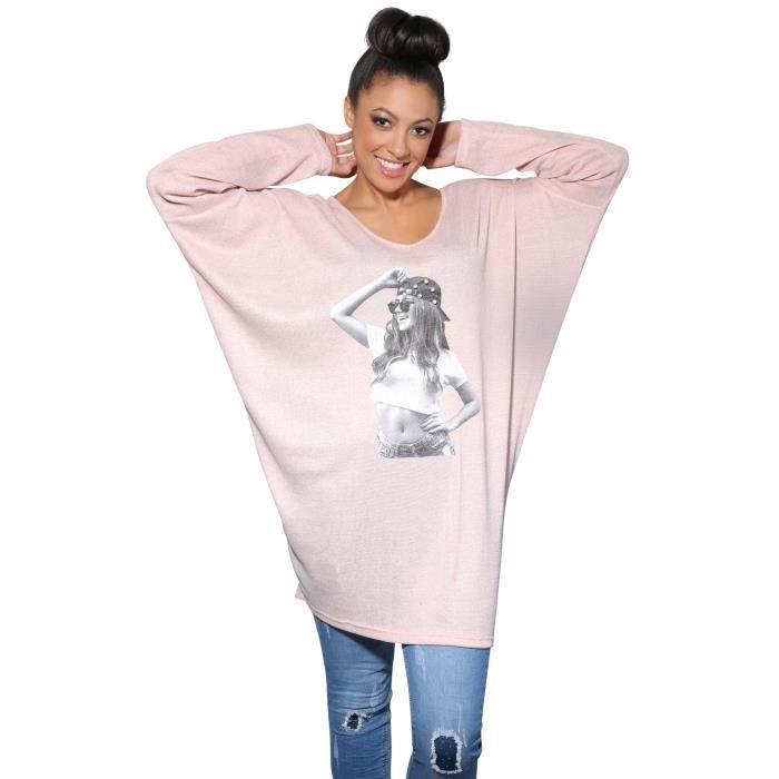 Femmes Pullover Léger Top Haut Blouse Tunique Robe Mini Courte Ample Dos Col V