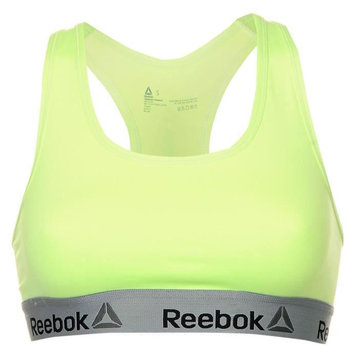3fb0e330dfa71 Reebok Kelly Sports Femme Soutien-Gorge Brassière Jaune Jaune ...