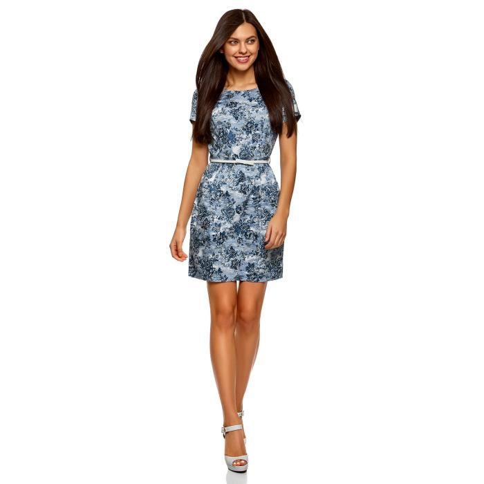 Womens Printed Dress With Belt 2K7B1D Taille-30