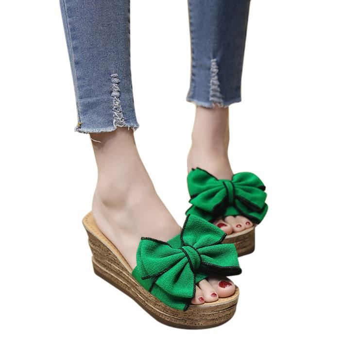 Slipper Talons Wedges Bow Solide Chaton Mode Couleur vert Femmes Sandales Chaussures FwAqRBx
