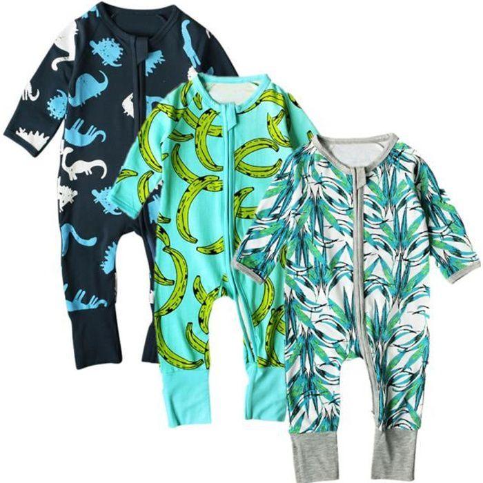 90d9222738438 Lot de 3 Pièces Combinaisons Pyjamas à Fermeture Éclair Grenouillère pour  Unisexe Bébé ou Enfant - vert-bleu-bleu marine