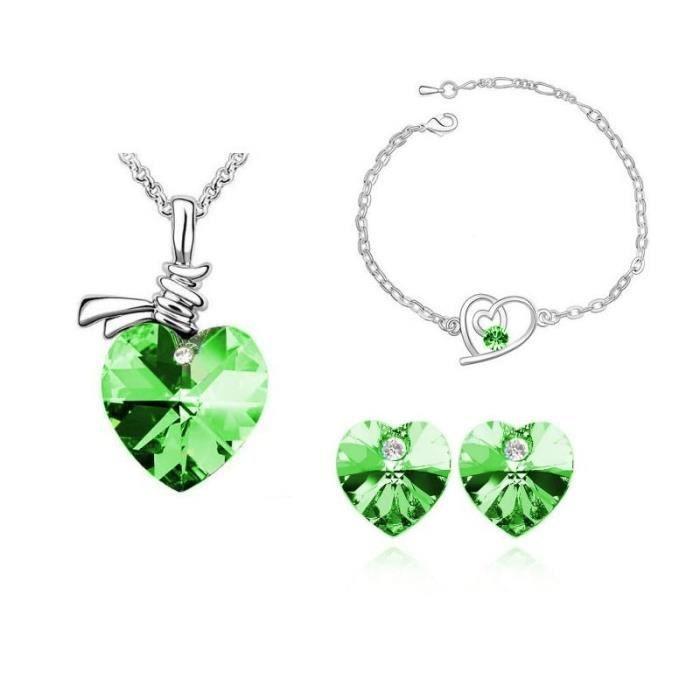 Parure pendentif coeur avec bracelet cristal swarovski elements plaqué or blanc Couleur Vert
