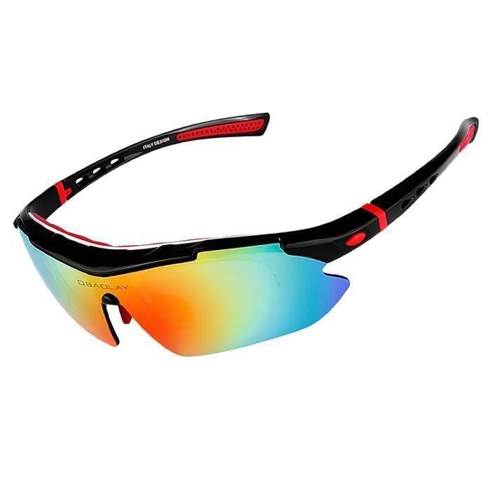 d4463d1f84 Tera® Lunettes de soleil anti-UV avec 5 Verres interchangeables polarisée  avec monture Noir-Blanc-Rouge pour sport,conduite,ski etc.