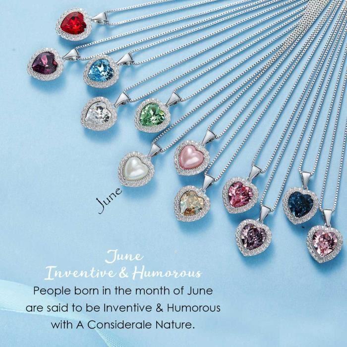 Cadeaux Saint Valentin spéciales pour les femmes « choisissent » Votre Birthstone 925 cristaux en argent sterling Pendentif Coeur CP