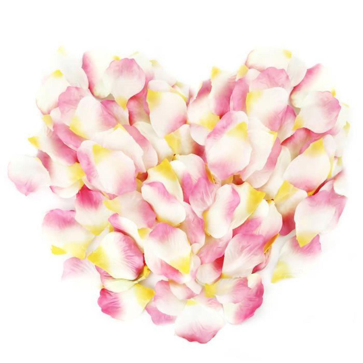 Savfy 1000 pcs multicolore p tales de rose fleur en tissu p tale d coration pour soir e mariage - Deco table multicolore ...