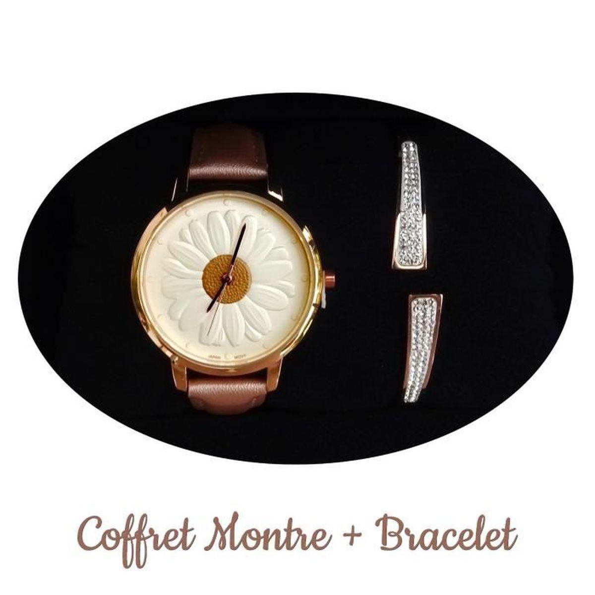 Idee De Cadeau Femme.Coffret Idee Cadeau Femme Montre Bracelet Strass Rosace Fleur Luxe Box Bijoux