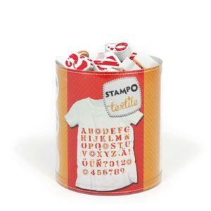 TAMPON DÉCORATIF ALADINE Set 45 Tampons Textiles Alphabet + Encreur