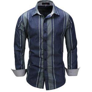 Chemise Homme En 100% Coton Manches Longue à Motif Imprimé Rayé Bleu ... b745d68031f5