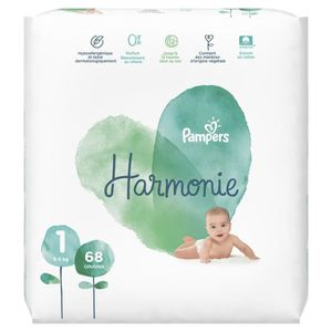 COUCHE PAMPERS Harmonie Taille 1 - 2 à 5 kg - 68 couches