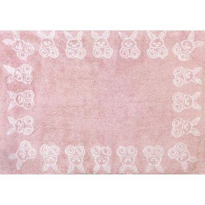 Tapis chambre enfant et bébé fille petit lapins rose lavable ...