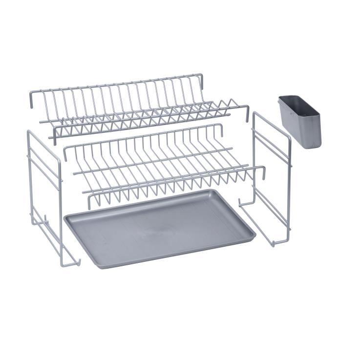 SAUVIC Égouttoir à vaisselle plastifié démontable - Gris