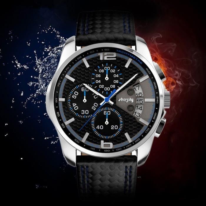 SHARPHY Montre Homme de Marque Luxe Sport Chronographe Etanche dateur Superbe