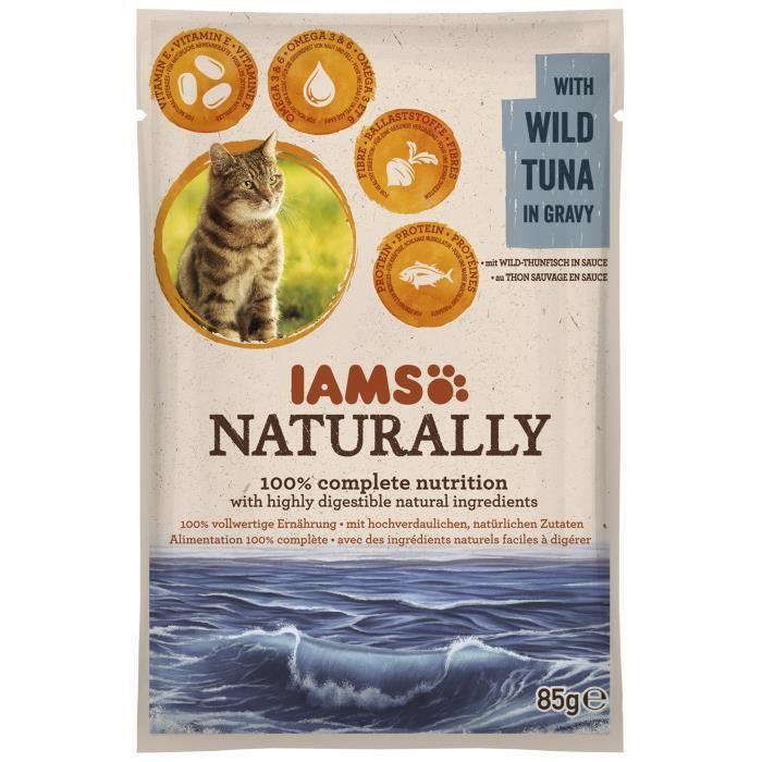 IAMS Naturally Humide Thon sauvage en sauce - Toutes races - 85 g - Pour chat adulte