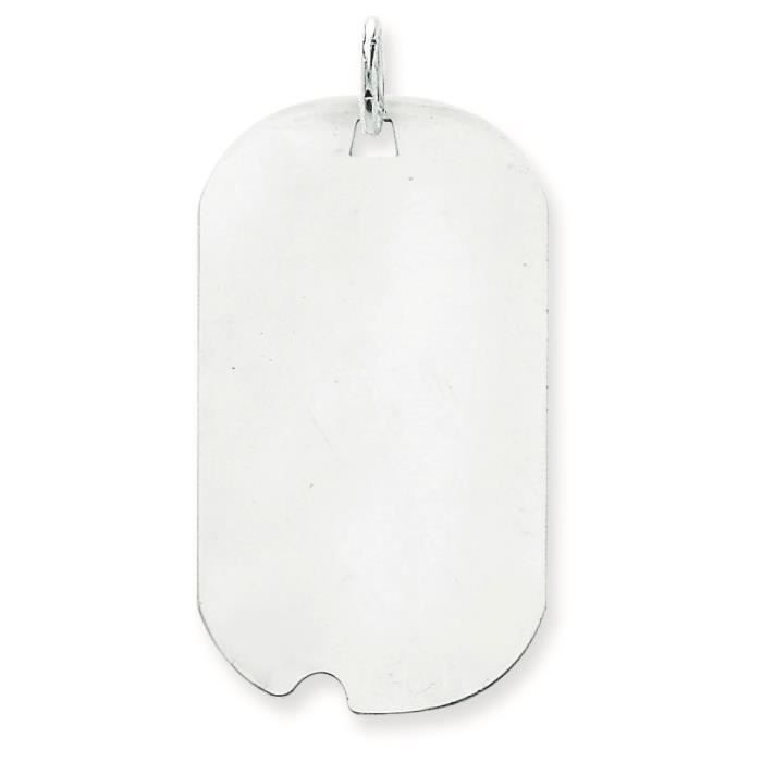 Or blanc 14 carats-Dog Tag-disque charme