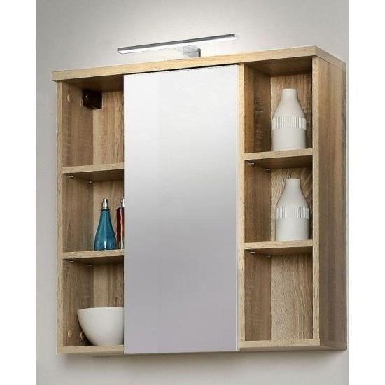 armoire de toilette bois clair 4 tag res led achat vente armoire pharmacie armoire de. Black Bedroom Furniture Sets. Home Design Ideas