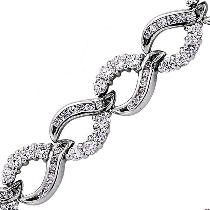 Jewelco London Plaqué Rhodium Argent Sterling Blanc Ronde brillant Zircone cubique Vagues de larmes de joie Bracelet