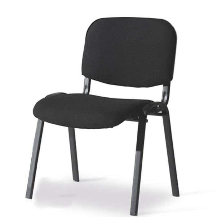 Chaise Bureau 4 Pieds En Tube Dacier Noir Avec