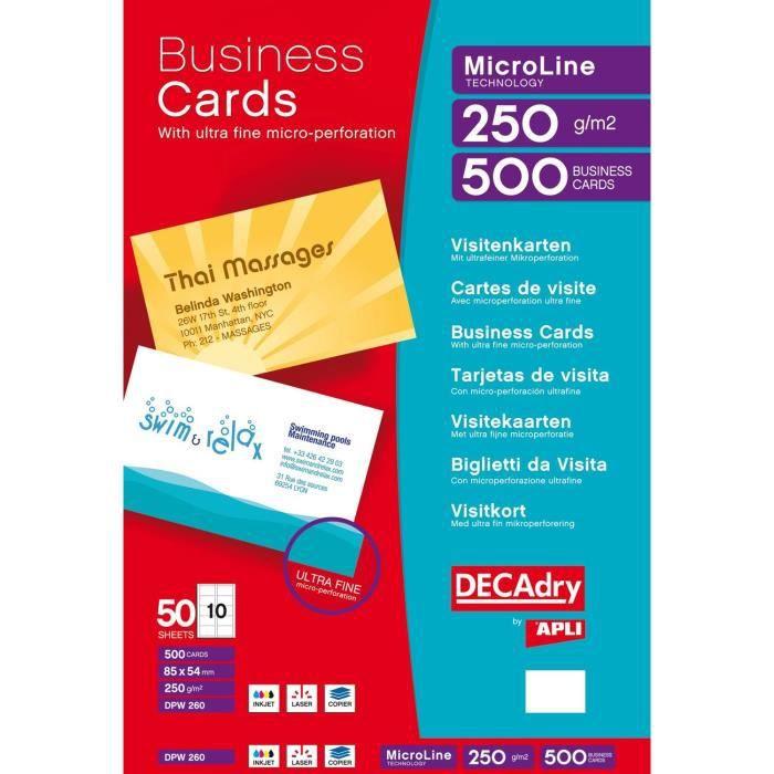 Pochette 500 Cartes De Visite Blanches MicroLine