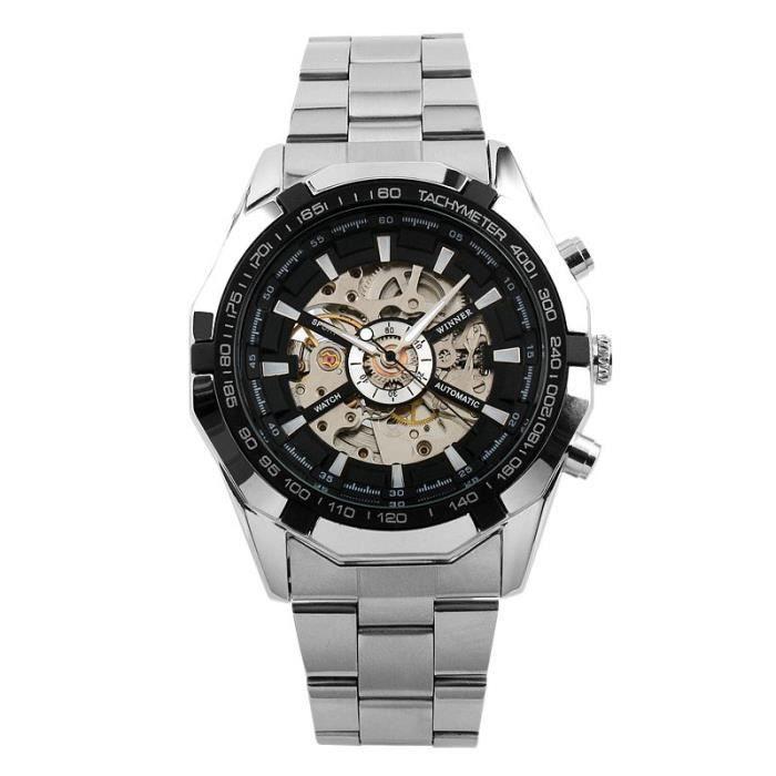 63878ebe36871 ESS Montre Homme Automatique Bracelet en acier inoxydable Montre Squelette  Mécanique cadran argent
