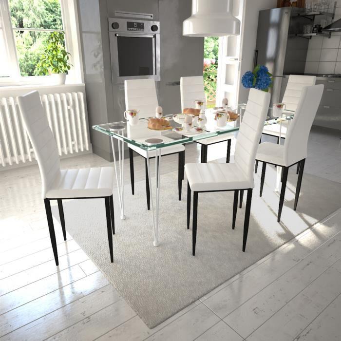 Armature Salle Manger 51 Cm 6pcs X Fer 98 BlancNoir Cuir Cuisine À Synthétique Chaises 41 En eE9YWDH2Ib