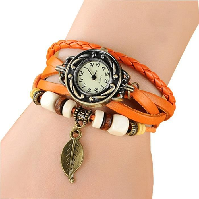 Montre femme bracelet cuir orange