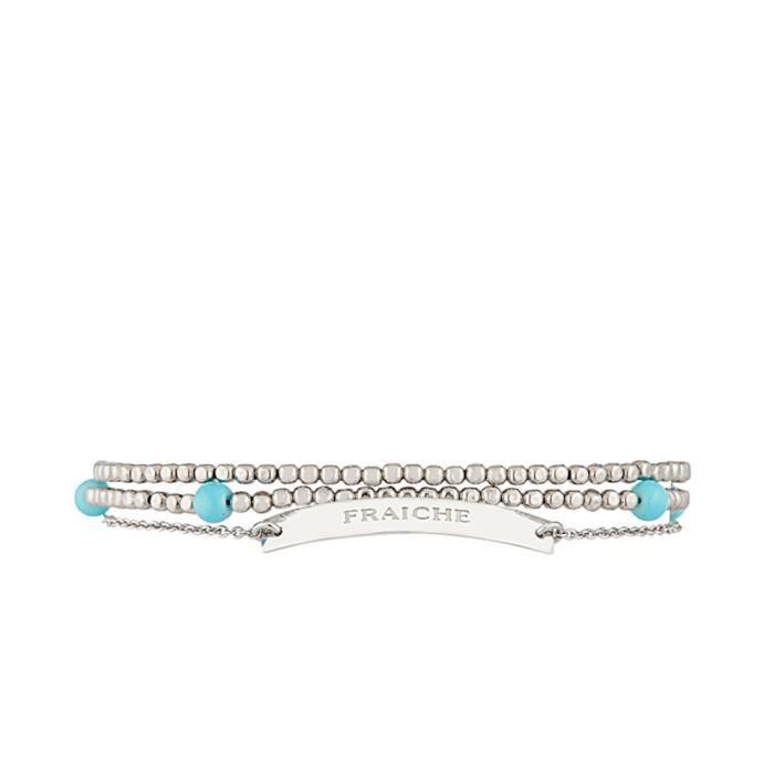 Mes-bijoux.fr - Bracelet à message FRAICHE Argenté - MCR428Bgv