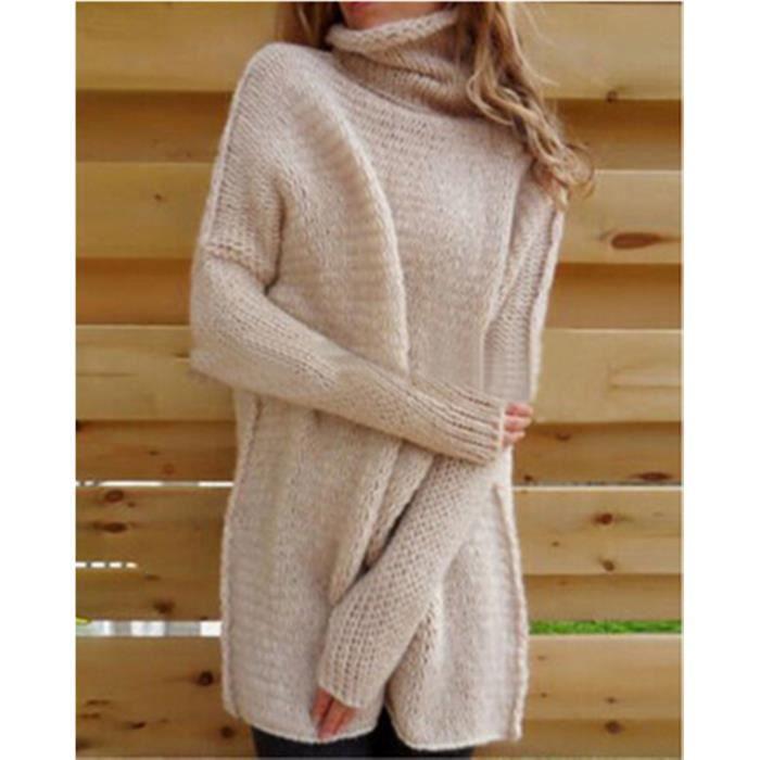 Assez Femmes hiver pulls col roulé en laine mélangée à manches longues  HC93