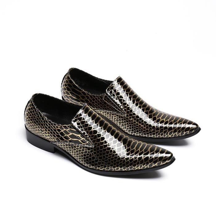 2017 Nouvel Arrivage style Business Gold Fashion Dress Chaussures Marque Designer Homme Glissement véritable Oxfords en cuir taille