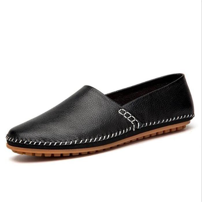 Mode Moccasins 47 Marque bleu Nouvelle Taille De Ete Noir Loafer Grande Hommes 2017 noir Durable Cuir Chaussure En 38 Luxe Confortable Homme qBWIU6