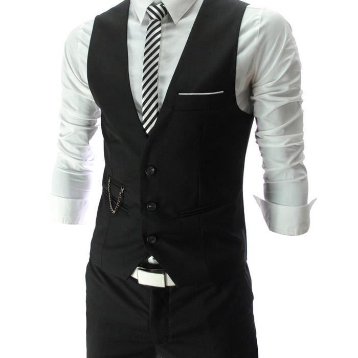 volume grand meilleur prix pour collection entière Gilet costume homme noir