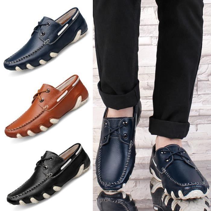 Hommes Mocassins Flats Chaussures en cuir véritable qualité Brand Design Homme Driving Chaussures bateau confortables Chaussures Oml6vBxPue