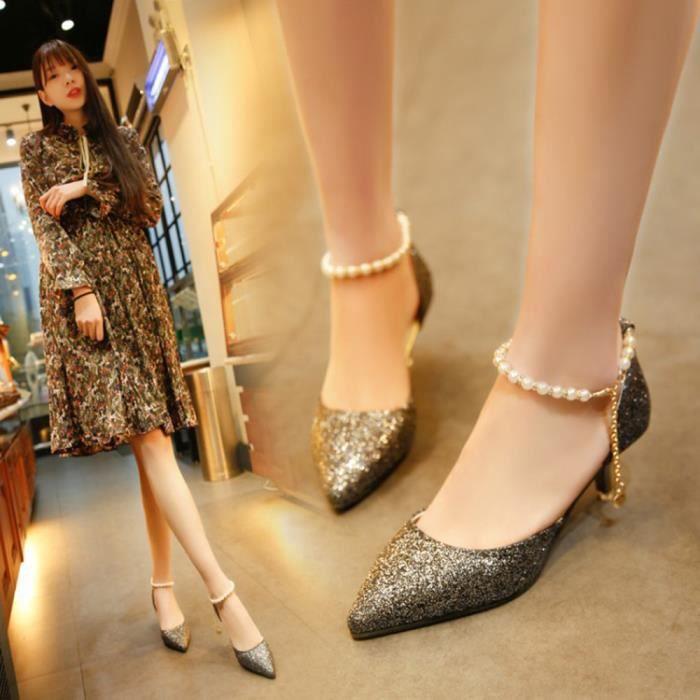 Napoulen®Mode printemps sandales minces paillettes String talons hauts pour femmes Noir-XPP71220736BK