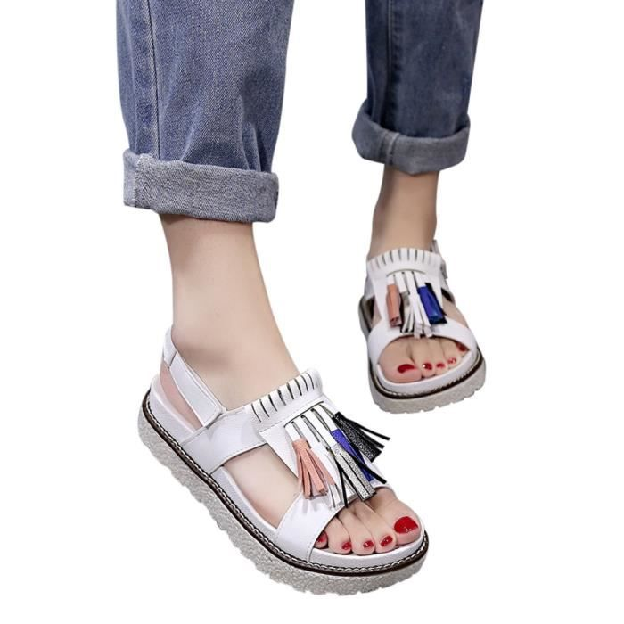 Casual Blanc Confortables Summer Ljd80320893wh Tassel Sandales Occasions Femmes Platform Chaussures wwSqHI1