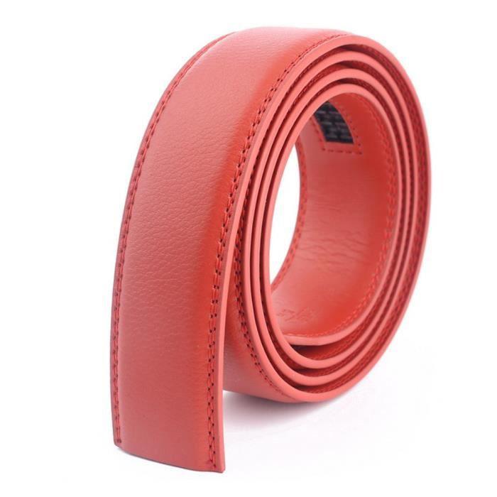 Hommes Ceinture Automatique Sans Boucle Cuir Véritable Toutes les Tailles  Largeur 3.5cm Rouge e3a08c083c4
