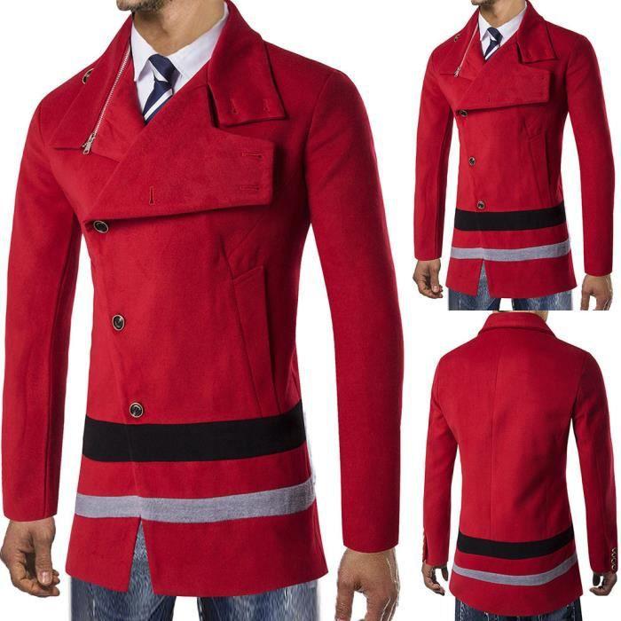 Pardessus Veste Trench D'hiver Outwear Smart Long Chaude Button Rouge RR6xZS0q