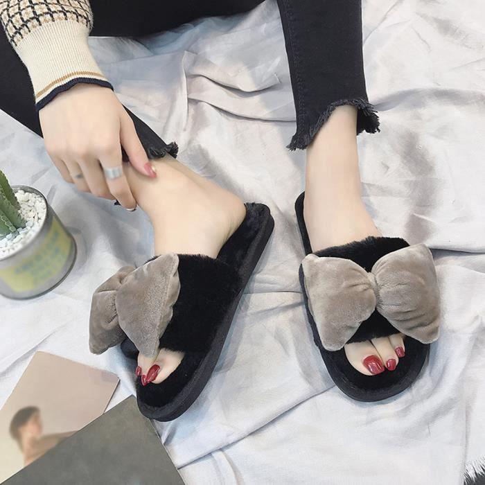 Femmes Chaud Plat Accueil Fausse Pantoufles kaki Chaussures Toe Bow Fourrure Ouvert Confortable Hiver A1wqdEA