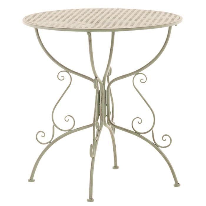 Table de jardin ronde en fer forgé coloris vert antique - 74 x 70 x 70 cm