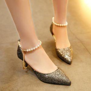 Napoulen®Mode printemps sandales minces paillettes String talons hauts pour femmes Argent-XPP71220736SL evBXKz2