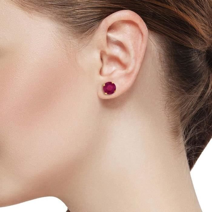 Womens 1.12 Ct Round Cut 5mm Red Ruby 14k Yellow Gold Stud Earrings KGJF2
