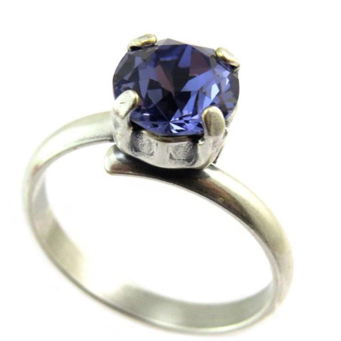 Bague artisanale Tsarine bleu tanzanite argenté - 8 mm [P3225]