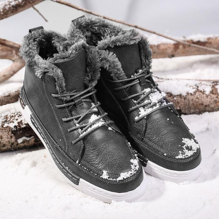 Bottes pour Hommegris 40 fourrure d'hiver Mode chaud Chaussures causales en peluche en cuir_538