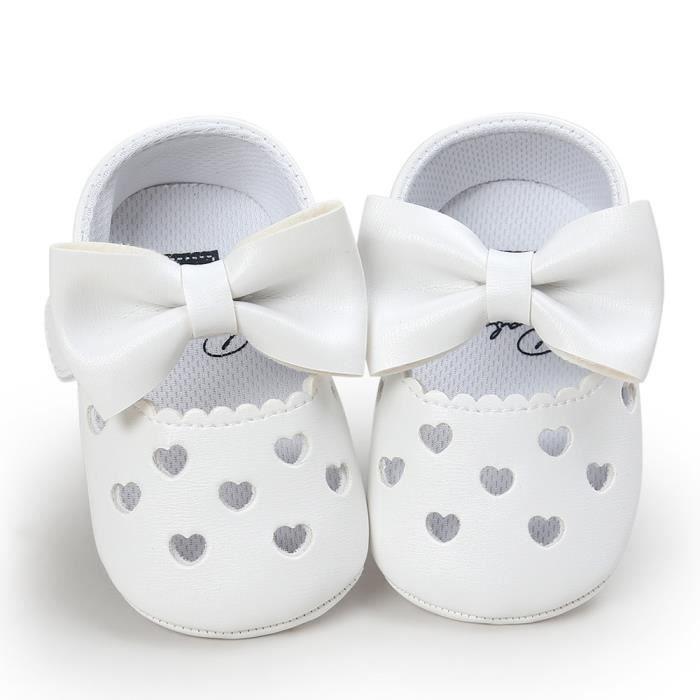 BOTTE Bébé fille évider Bowknot chaussures Casual chaussures Sneaker anti-dérapant chaussures souples@BlancHM