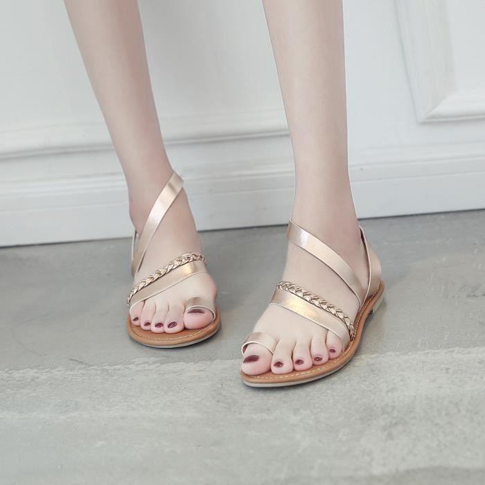 Chaussures Strappy xi D'été Plat De Femmes Rose Gladiator Sandales Tongs Gold 6269 Bas Plage Talon RO5xvwq