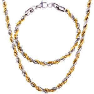 U7 Chaîne Ensemble-Maille Corde-Acier INOX-Plaqué Or Jaune-Collier Bracelet- Bijoux Accessoire pour Homme 9b916efb057a