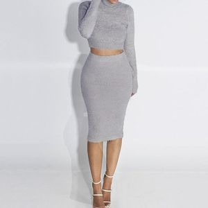 5178dd2bb36c9 Femme Jupe Tops Set Mode Sexy Longue Manche Bodycon Sweater Gris ...