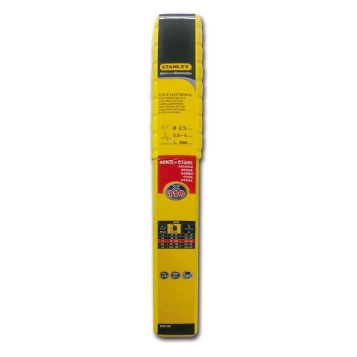 STANLEY 460925 Lot de 110 électrodes rutiles acier - Ø 2,5 mm - L 350 mm - Baguettes de soudure