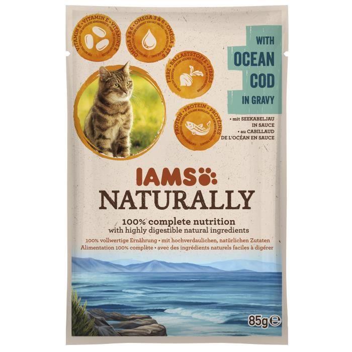 IAMS Naturally Humide Cabillaud en sauce - Toutes races - 85 g - Pour chat adulte