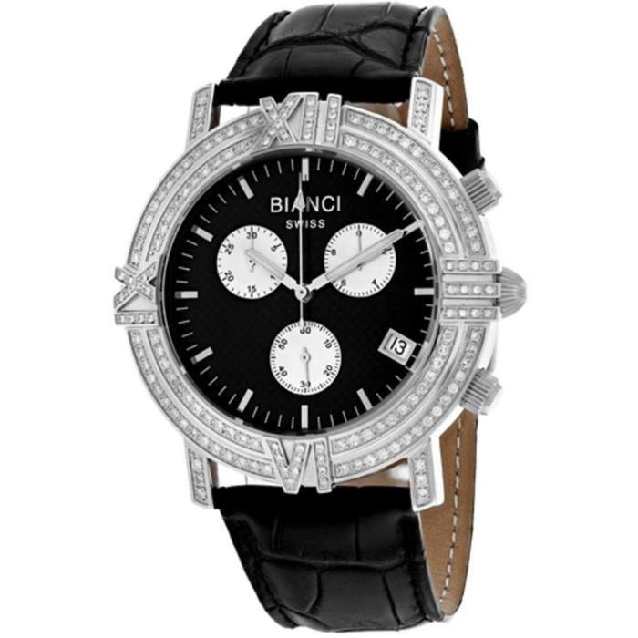 Roberto Bianci Medellin Femme Diamant 44mm Bracelet Cuir Quartz Montre RB18500