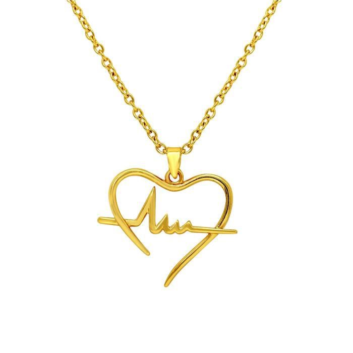 Cadeau pour la fête de la Saint-Valentin femme plaqué or de battements de coeur pendentif pour Ps1101592g SRCGG