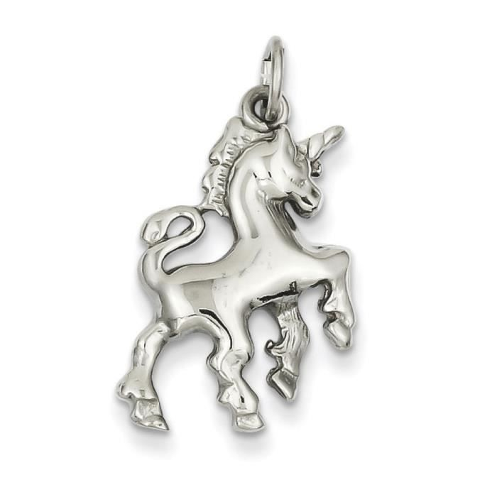 Or blanc 14 carats-Licorne-Dimensions :22 x 17 mm